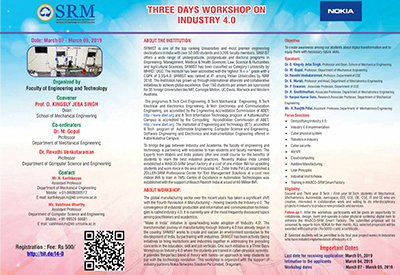 three days workshop on Industry 4.0